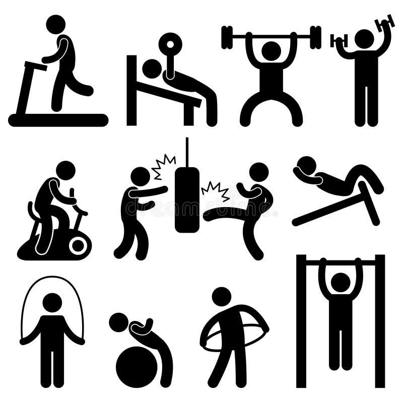 sportowy ciała ćwiczenia gym sala gimnastycznej mężczyzna p trening ilustracja wektor