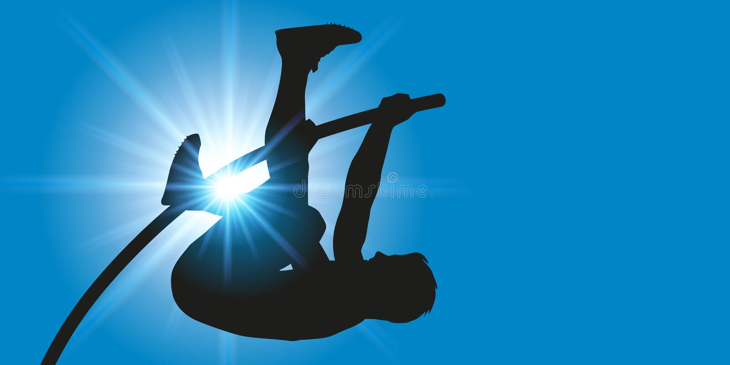 Sportowy gest słupa tyczkarz przy słup kryptą ilustracji