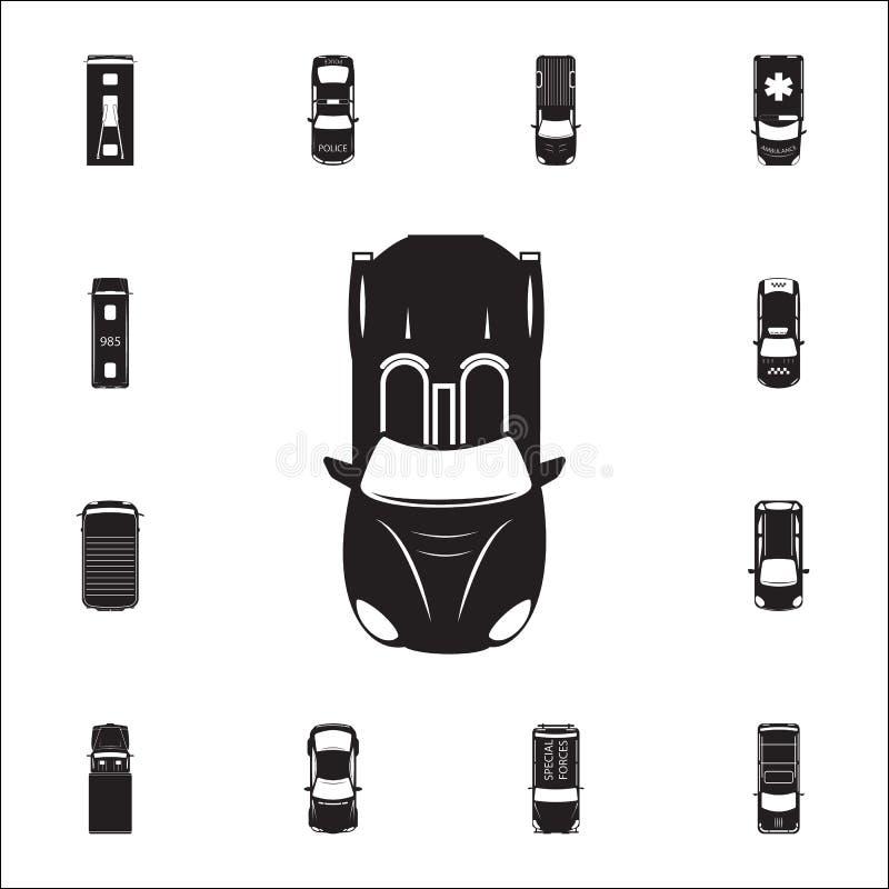 Sportowy samochód ikona Szczegółowy set Przewieziony widok od above ikon Premii ilości graficznego projekta znak Jeden inkasowe i ilustracja wektor