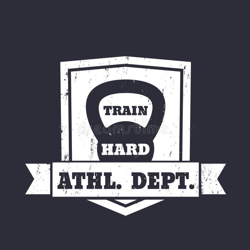 Sportowy wydziałowy emblemat, znak z kettlebell ilustracja wektor