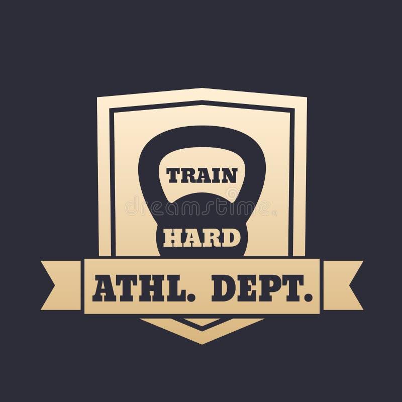 Sportowy wydziałowy złocisty emblemat z kettlebell ilustracji