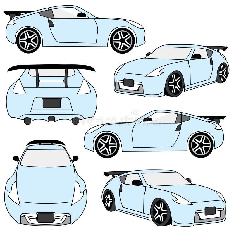 Sportowych samochodów kąty i widoki royalty ilustracja