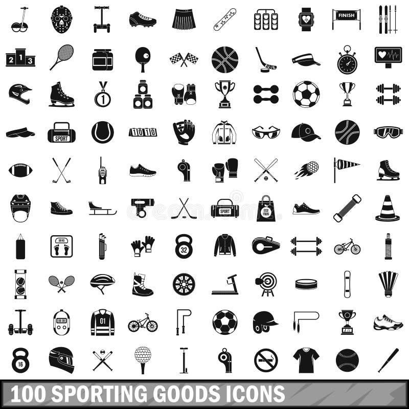 100 sportowych towarów ikon ustawiających, prosty styl royalty ilustracja
