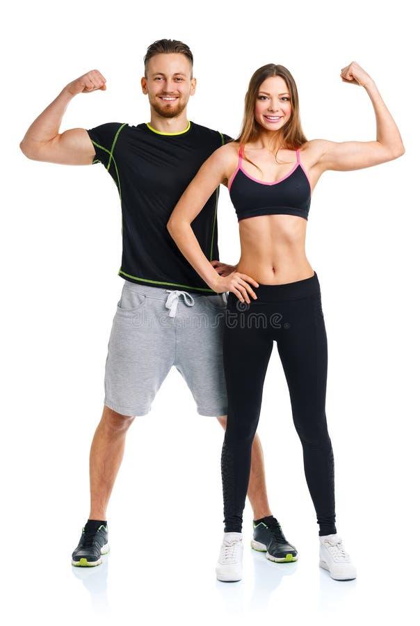 Sportpar - mannen och kvinnan efter kondition övar royaltyfria foton