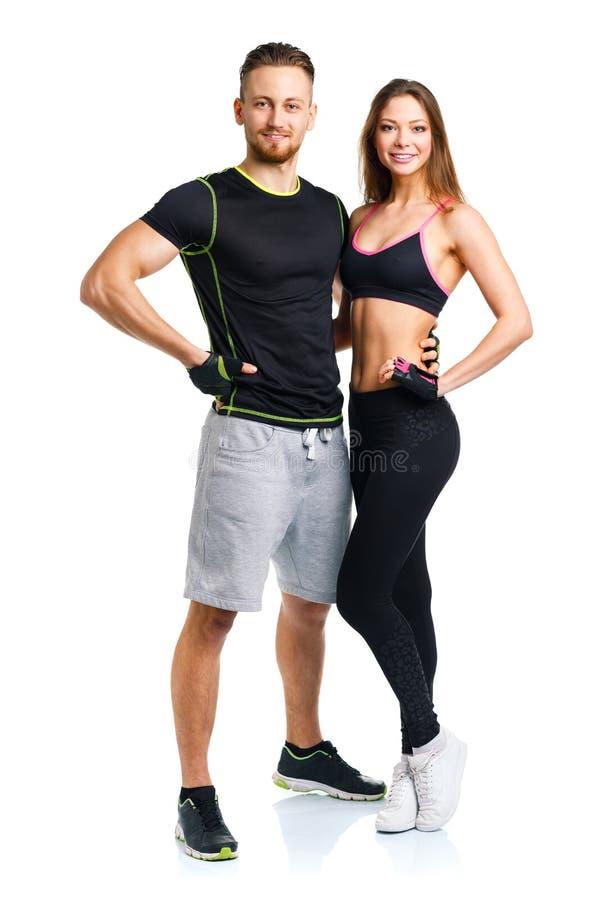 Sportpar - mannen och kvinnan efter kondition övar royaltyfria bilder