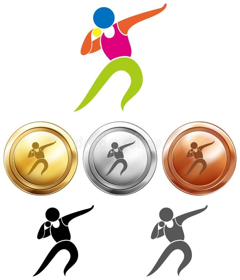Sportpictogram voor gezet schot en medailles vector illustratie