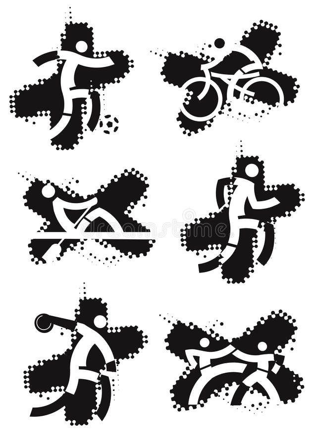 Sportpictogrammen op de grungeachtergrond stock illustratie