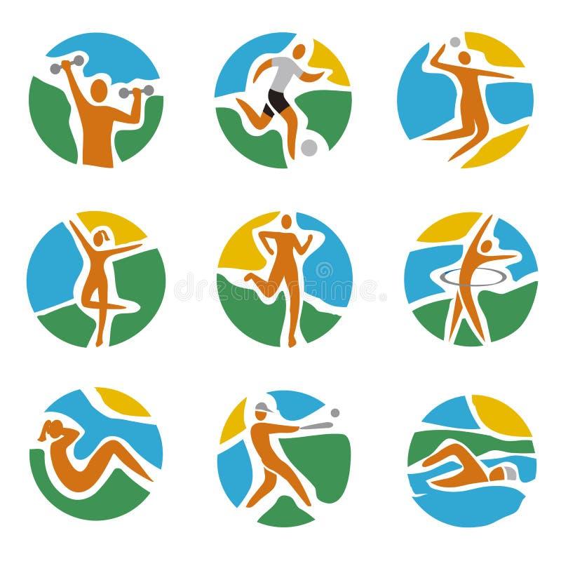 Sportpictogrammen op ronde kleurrijke achtergrond vector illustratie