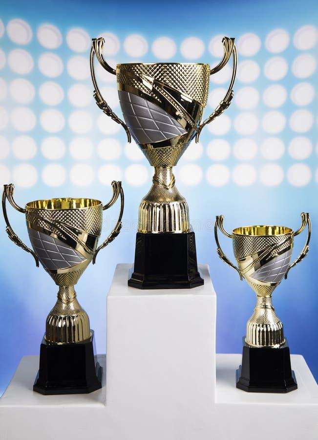Sportpodium, koppar av vinnareutmärkelsen fotografering för bildbyråer