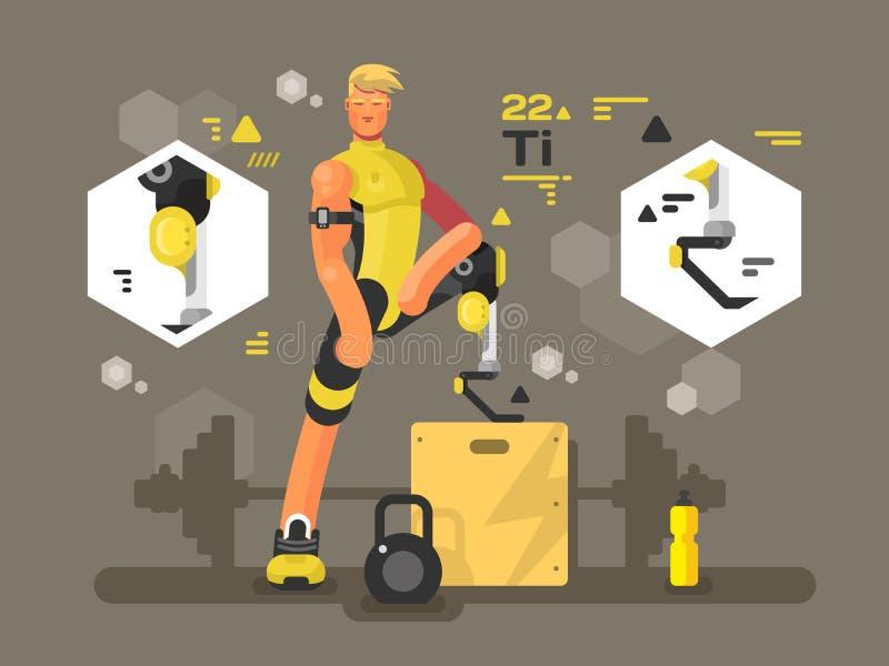 Sportprothesen entwerfen flach lizenzfreie abbildung