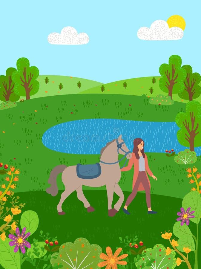 Sports équins, femme avec le cheval sur le lac nature illustration stock