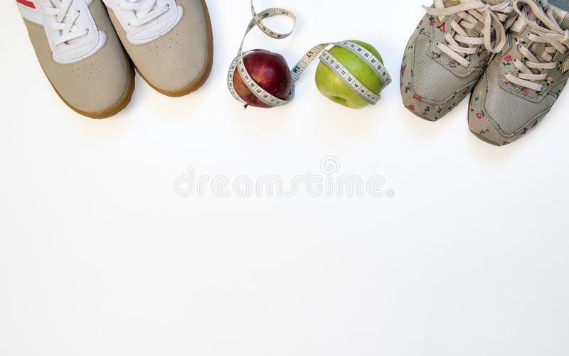 Sports accessories for two are top view stock photo