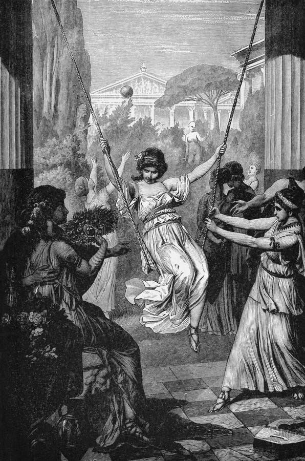 Sports of Ancient Greek Girls royalty free illustration