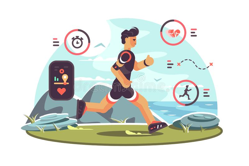 Sports apps for fitness. Man runners getting health information and other data using wearable technology fitness tracker. Heartbeat distance location pulse royalty free illustration