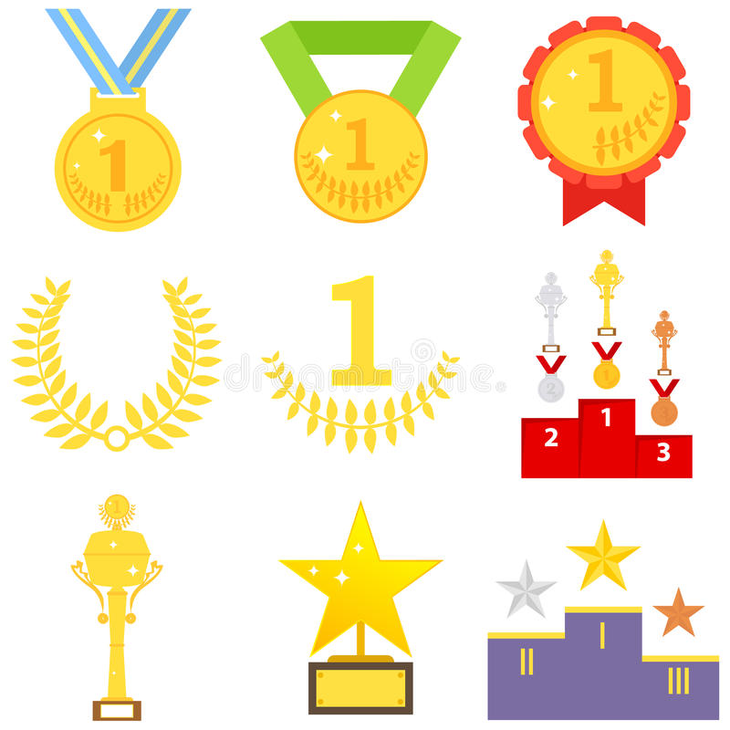 Sports awards, medal, sports cup, trophy royalty free illustration