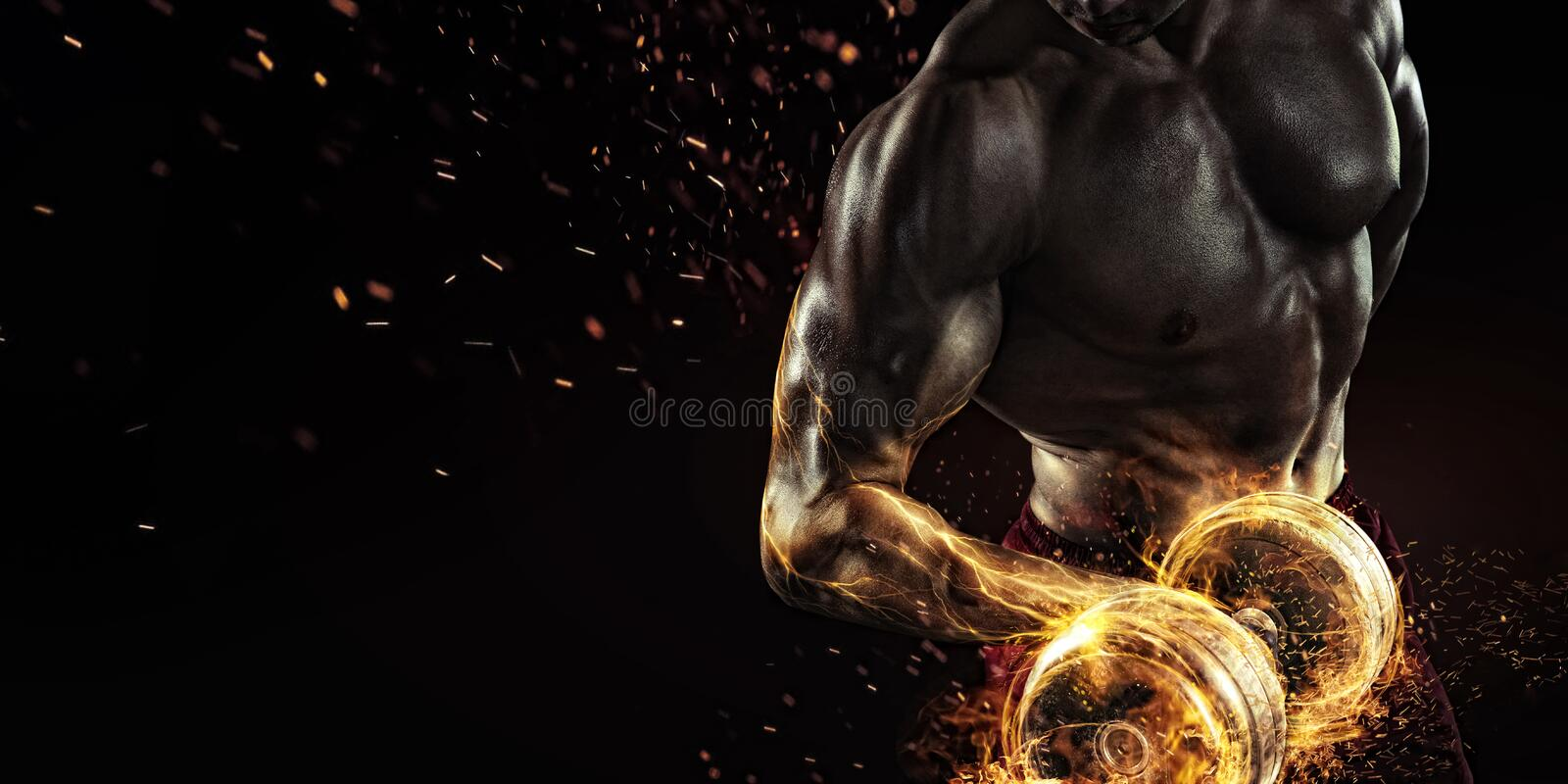 Sports background. Fire and energy stock photography