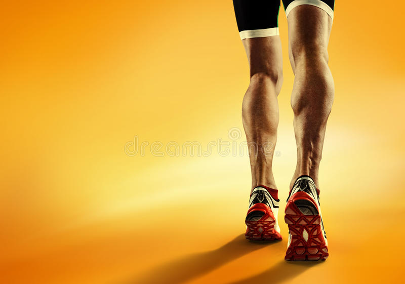 Sports background. Runner feet running closeup on shoe stock photo