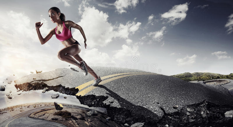 Sports background. Runner feet running on road royalty free stock image
