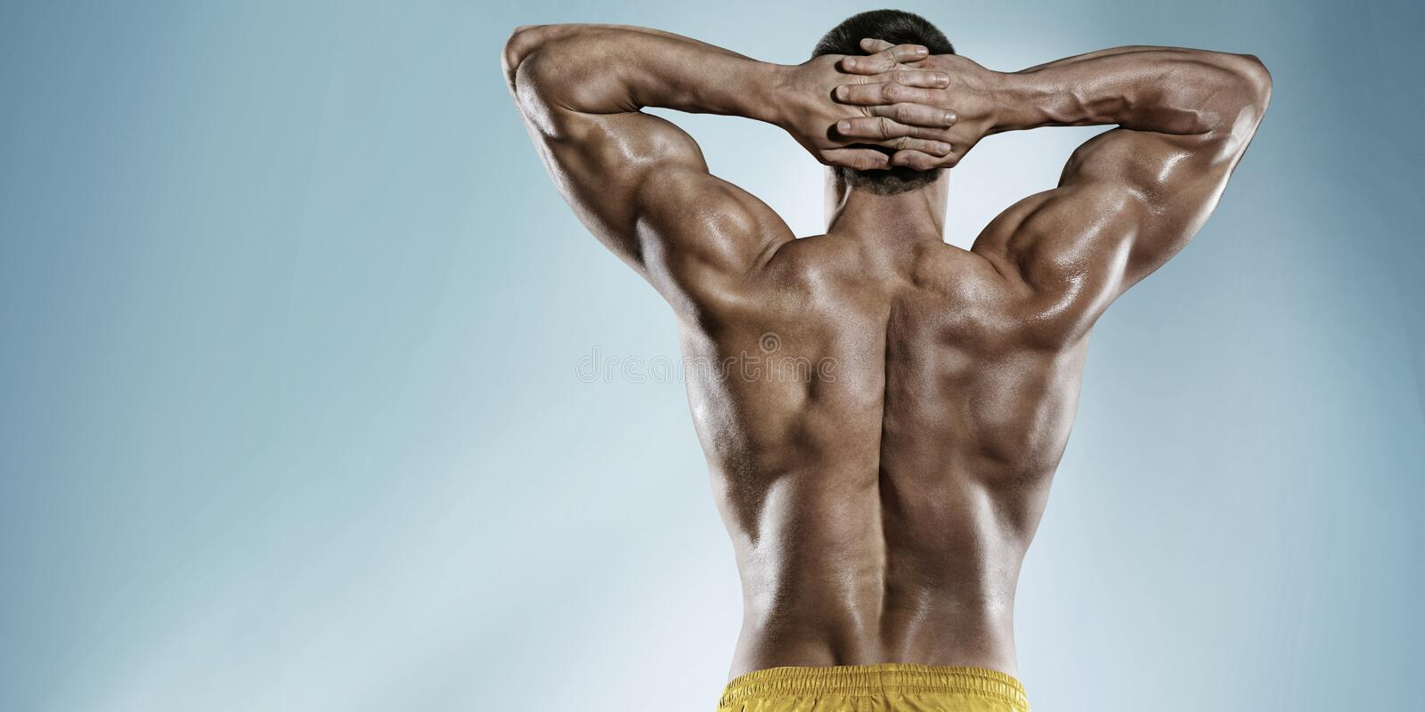 Sports background. Strong Athletic Man stock photo