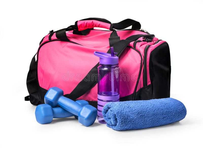 Sports bag with sports equipment stock photos
