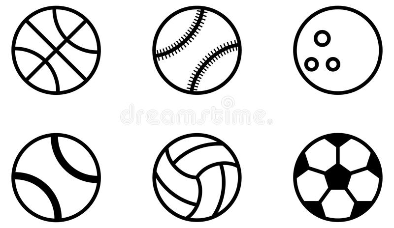 Sports ball icons black outline royalty free illustration
