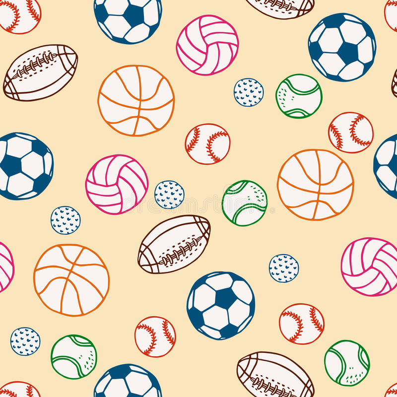 Sports Balls Doodle Surface Pattern. Vector Background. royalty free stock photo