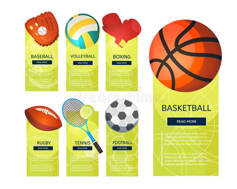 Sports balls and equipment icons of gaming accessories. Football, basketball, tennis, baseball, rugby, voleyball vector vertical banners. Creative sport games vector illustration