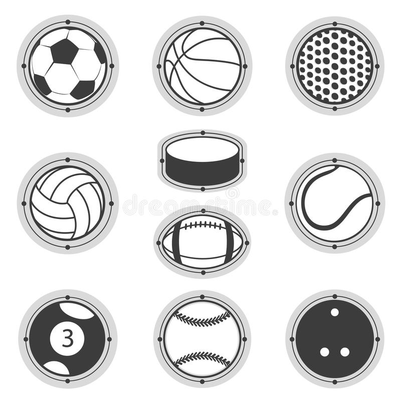 Sports Balls. Football, basketball, golf, volleyball, hockey, american , tennis, billiard, baseball, bowling stock illustration