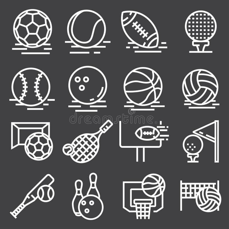Sports Balls Icons Set on Gray Background. Vector vector illustration
