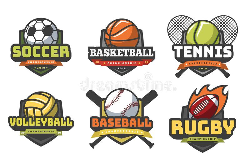 Sports balls logos. Sport logo ball soccer basketball volleyball football rugby tennis baseball badge team club emblems vector illustration
