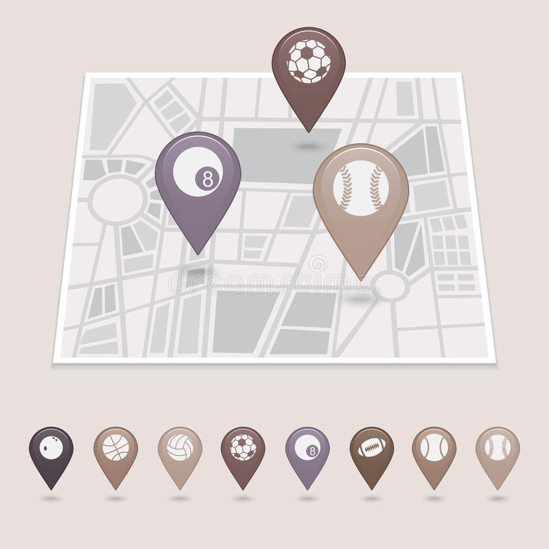 Free Sports Balls Mapping Pins Icons Royalty Free Stock Image - 42795456