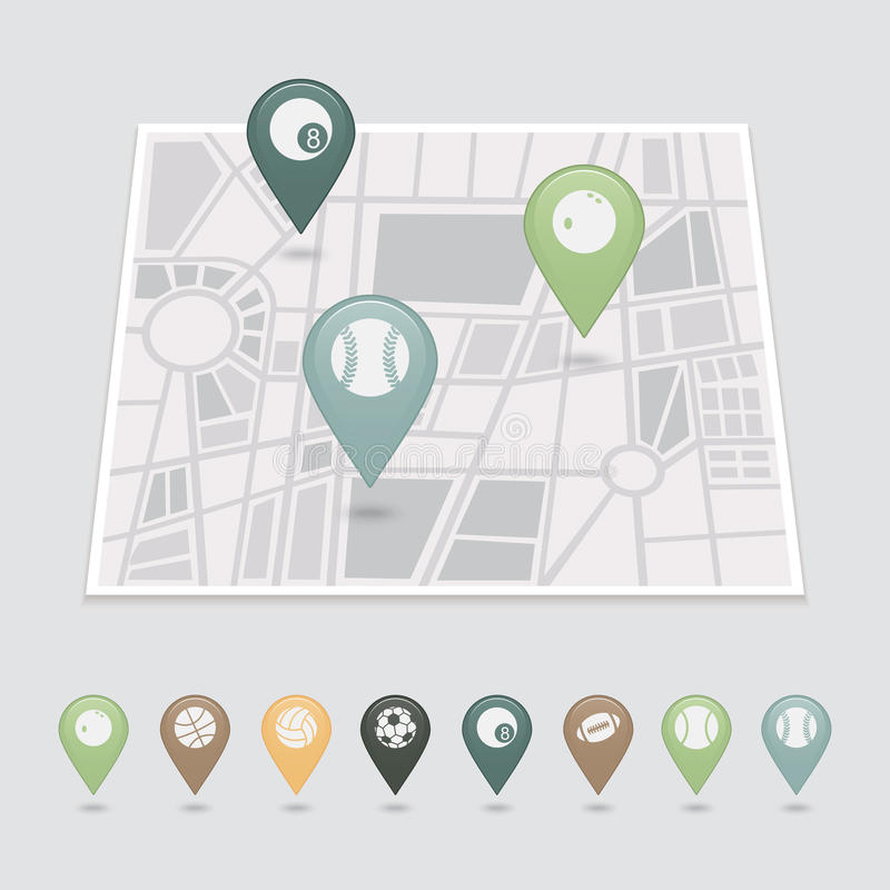 Free Sports Balls Mapping Pins Icons Royalty Free Stock Photography - 42795487
