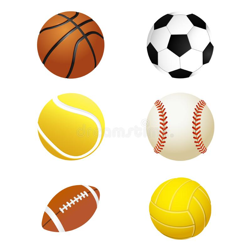 Sports balls. Set for soccer and tennis, rugby. Basketball and football balls stock illustration