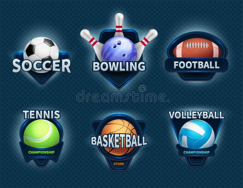 Sports balls vector labels and sport team emblems. Sport ball, championship college and tournament game illustration vector illustration