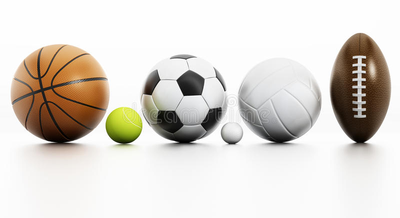 Sports balls. On white background with reflection royalty free stock photos