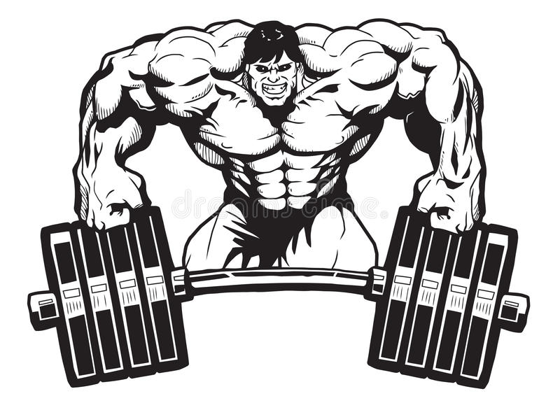 Sports bar. Bodybuilder relies on sports bar. isolated on a white. illustration. vector