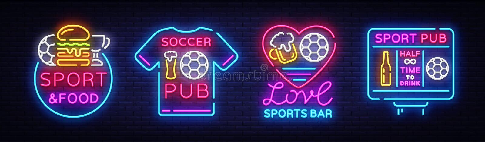 Sports bar collection logos neon vector. Sports pub set neon signs, Football and Soccer concepts, night bright signboard. For sports pub bar, fan club, dining vector illustration