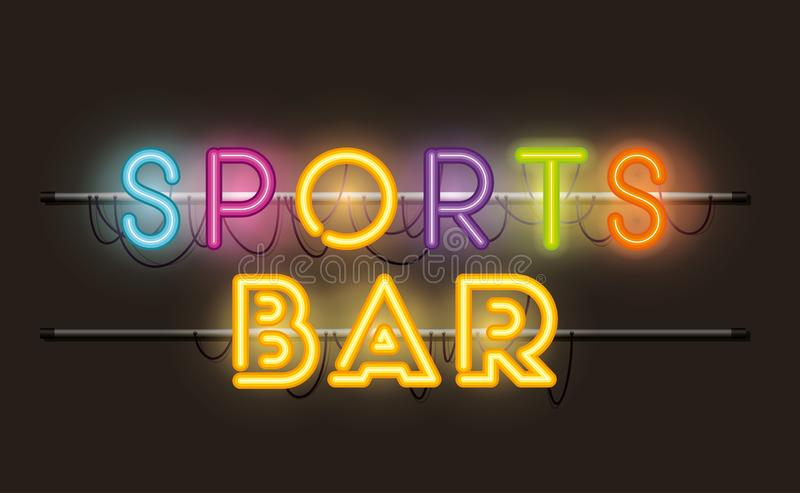 Sports bar fonts neon lights royalty free illustration