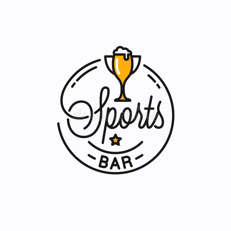 Free Sports Bar Logo. Round Linear Of Sports Trophy Cup Royalty Free Stock Photo - 164486425