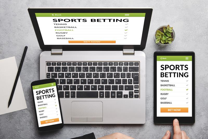 Sports Betting Concept On Laptop Computer Screen Isolated On White Stock  Image - Image of soccer, risk: 113127489