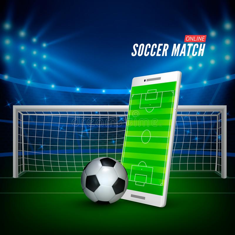 Sports betting online. Bets web banner concept. Soccer stadium background and smartphone with football field on screen and ball. Vector illustration royalty free illustration