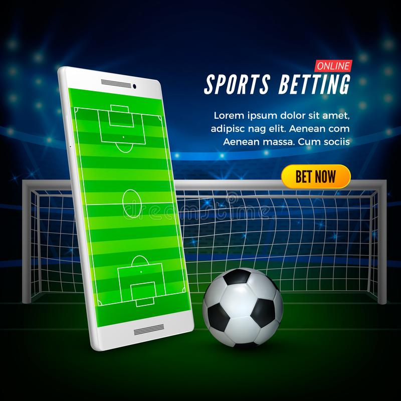 Sports betting online web banner concept. Soccer stadium background and smartphone with football field on screen and ball. Vector illustration vector illustration