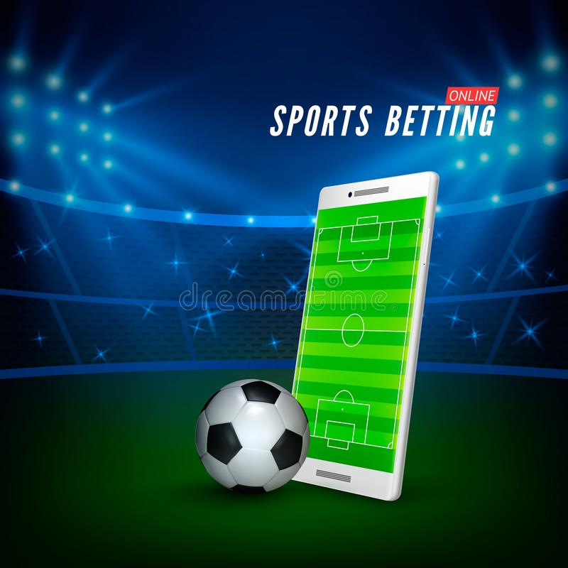 Sports betting online web banner template. smartphone with football field on screen and soccer ball and football stadium. On background. Vector illustration vector illustration