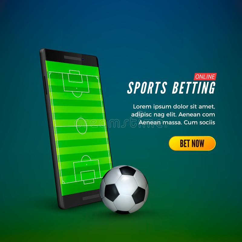 Sports betting online web banner template. smartphone with football field on screen and soccer ball. Vector. Illustration vector illustration
