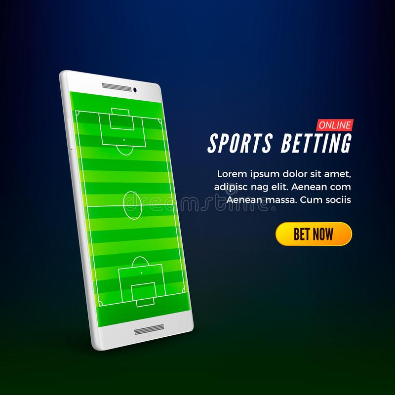 Sports betting online web banner template. smartphone with football field on screen. Vector. Illustration royalty free illustration