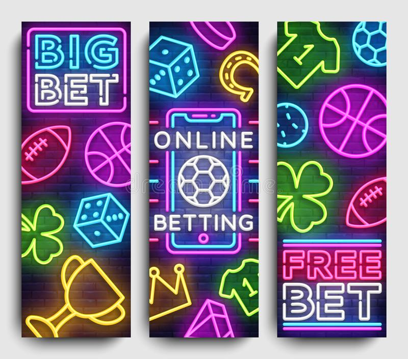 Sports betting vertical banner vector design template. Neon Signs, Light Banner, Bright Night Neon Advertising Bets vector illustration