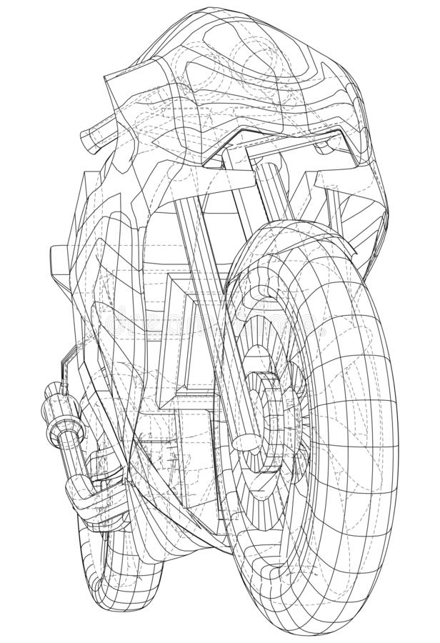 Sports bike technical wire-frame. EPS10 format. Vector created of 3d stock illustration