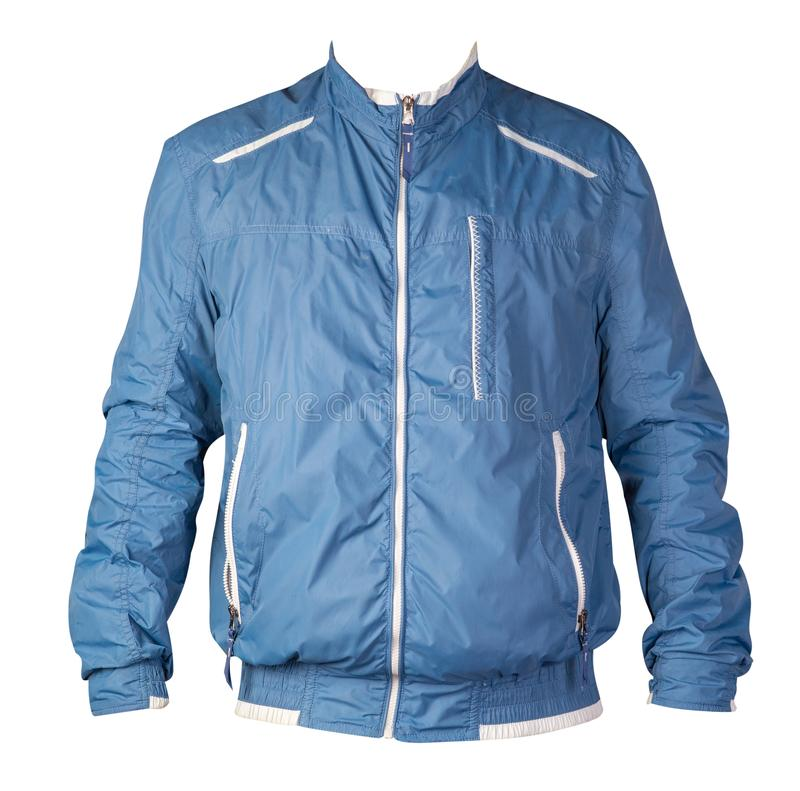 Sports jacket isolated on a white background. Windbreaker jacket front view. Sports blue  jacket isolated on a white background. Windbreaker jacket front view stock photography