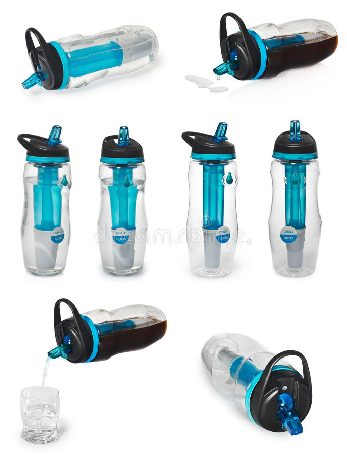 Sports bottle with a water filter. Water bottle filters the water to clean, drinkable. stock images