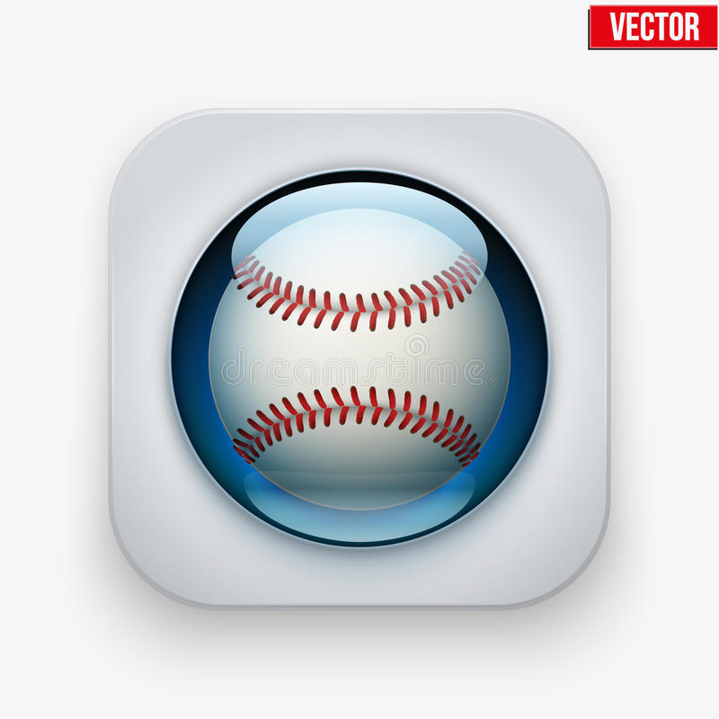 Sports button with ball under glass for website or stock illustration